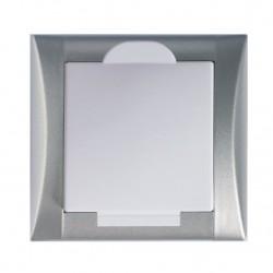 Zásuvka Elegant hliník/bílá