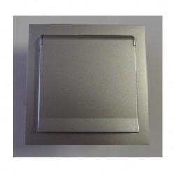 Zásuvka Future Linear hliníková stříbrná, včetně rámečku